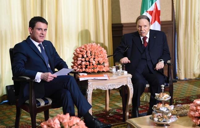 Manuel Valls a rencontré le président algérien Abdelaziz Bouteflika à Zeralda, dans la banlieue d'Alger, le 10 avril 2016.