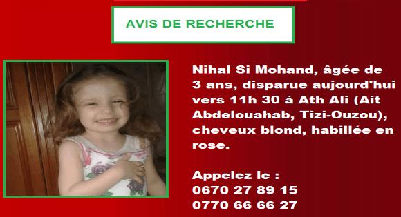 Alerte à Ouacif : La petite Nihal toujours introuvable
